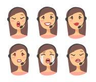Портрет счастливого усмехаясь женского оператора телефона работы с клиентом Работник Callcenter с шлемофоном Cauc иллюстрации век Стоковые Фото