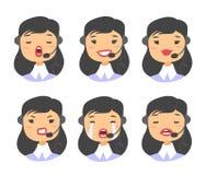 Портрет счастливого усмехаясь женского оператора телефона работы с клиентом Работник Callcenter с шлемофоном Иллюстрация Азия шар Стоковая Фотография RF