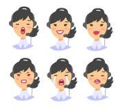 Портрет счастливого усмехаясь женского оператора телефона работы с клиентом Работник Callcenter с шлемофоном Иллюстрация Азия век Стоковое Изображение RF