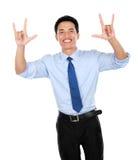Портрет счастливого успешного показывать бизнесмена стоковое фото rf