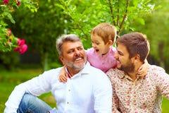 Портрет счастливого grandpa, отец и сын весной садовничают стоковые фотографии rf