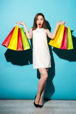 Портрет счастливой девушки держа красочные хозяйственные сумки Стоковая Фотография
