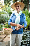 Портрет счастливой женщины стоя с яблоками на саде Стоковые Изображения RF