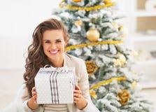 Портрет счастливой молодой женщины с коробкой подарка на рождество Стоковое Изображение