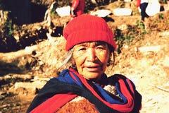 Портрет счастливой непальской женщины в Pokhara, Nepa Стоковое Изображение