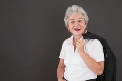 Портрет счастливой привлекательной старшей дамы Стоковые Фото