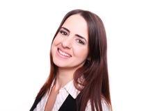 Портрет счастливой усмехаясь бизнес-леди, над белой предпосылкой Стоковые Фото