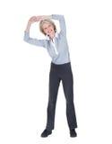 Портрет счастливый работать женщины Стоковая Фотография