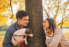 Портрет счастливых молодых пар с собаками outdoors в парке Стоковая Фотография RF