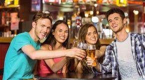 Портрет счастливых друзей провозглашать с питьем и пивом Стоковая Фотография RF