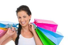 Портрет ся девушки с хозяйственными сумками Стоковое фото RF