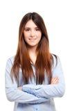 Молодая женщина изолированная на белизне Стоковая Фотография RF