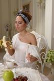 Портрет с бананом Стоковая Фотография RF