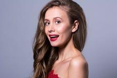 Портрет с открытым ртом красивой женщины Стоковые Изображения
