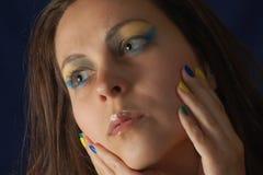 Портрет с цветами Бразилии Стоковое Изображение