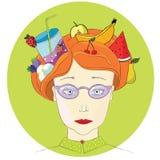 Портрет с fruts и berrys в волосах, coctail в волосах, стрижке с coctail иллюстрация вектора