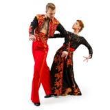 Портрет танцоров в национальных костюмах Стоковое Изображение