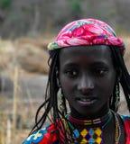 Портрет татуированной женщины Poli племени Mbororo aka Wodaabe, Камеруна Стоковое Изображение
