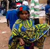 Портрет татуированной женщины Poli племени Mbororo aka Wodaabe, Камеруна Стоковое Фото