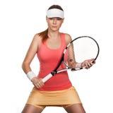 Портрет тенниса женщины красивого redhead подходящего Стоковые Изображения RF