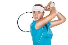 Портрет тенниса женщины красивого redhead подходящего Стоковая Фотография