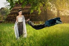 Портрет традиционной тайской девушки Стоковые Фотографии RF