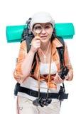 Портрет туристского биолога с увеличителем на белизне Стоковое Изображение