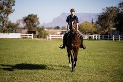 Портрет уверенно женской верховой лошади жокея на амбаре Стоковое Изображение RF