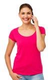 Портрет уверенно женщины используя умный телефон Стоковая Фотография