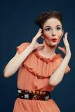 Портрет удивленной женщины Стоковое Изображение RF