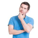 Портрет думая человека смотря вверх. Стоковое Изображение RF