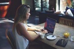 Портрет умной женщины сидя передний портативный компьютер с экраном космоса экземпляра для вашей информации Стоковое фото RF