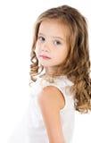 Портрет унылой прелестной изолированной маленькой девочки Стоковое фото RF