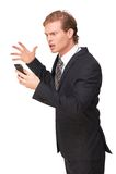 Усиленный бизнесмен смотря телефон стоковые фотографии rf