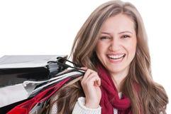 Портрет усмехаться девушки покупок Стоковое Фото