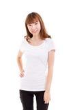 Портрет усмехаться, счастливая, уверенно женщина в вскользь одежде Стоковое Изображение RF