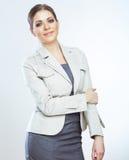 Портрет усмехаясь бизнес-леди, на белой предпосылке Стоковые Фотографии RF