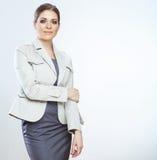 Портрет усмехаясь бизнес-леди, на белой предпосылке Стоковое фото RF