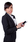 Портрет усмехаясь говорить телефона бизнес-леди Стоковое Изображение RF