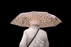 Портрет усмехаясь красивого зонтика и смотреть удерживания женщины вверх изолированный на белой предпосылке стоковые фотографии rf
