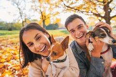 Портрет усмехаясь молодых пар с собаками outdoors Стоковая Фотография RF