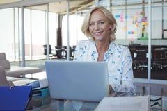 Портрет усмехаясь предпринимателя работая на компьтер-книжке на офисе Стоковое Фото