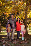 Портрет усмехаясь семьи идя на парк Стоковая Фотография RF