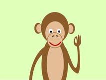 Портрет успеха О'КЕЙ жеста обезьяны Стоковая Фотография