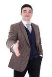 Портрет успешного бизнесмена давая руку для iso рукопожатия Стоковые Изображения