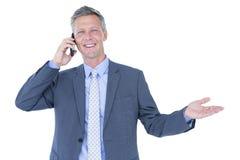 Портрет успешного бизнесмена на телефоне Стоковые Фото