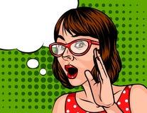 Портрет удивленной женщины с короткими стеклами темных волос нося Бесплатная Иллюстрация