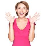 Портрет удивленной женщины с положительными эмоциями Стоковое фото RF