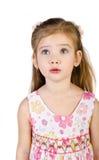 Портрет удивленной изолированной маленькой девочки Стоковая Фотография RF