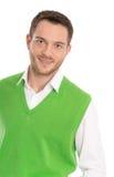 Портрет удовлетворенного молодого привлекательного изолированного бизнесмена. Стоковые Изображения